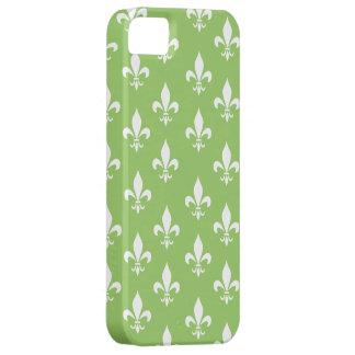 Grünes u. weißes Lilien-Muster iPhone 5 Etuis