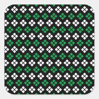 Grünes u. weißes Rauten-Muster moderner Kelly auf Quadratischer Aufkleber