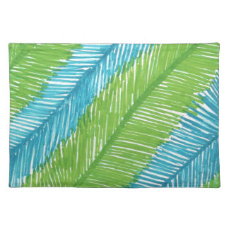 Grünes und blaues Palmblatt-Muster Stofftischset