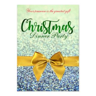 Grünes und gelbes Glittery Weihnachtsabendessen Karte