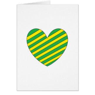 Grünes und gelbes Herz Karte