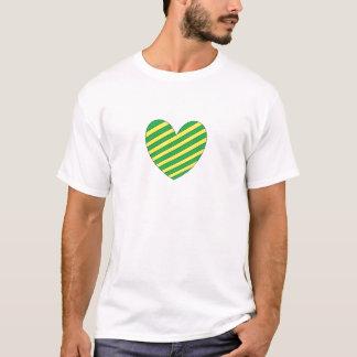 Grünes und gelbes Herz T-Shirt