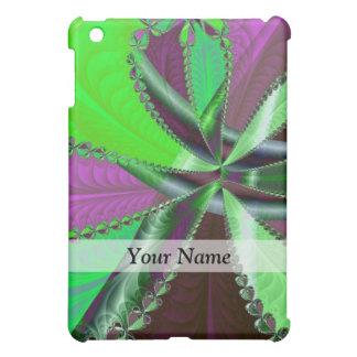 Grünes und lila Fraktalmuster iPad Mini Hülle