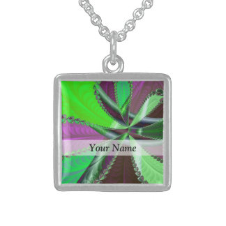 Grünes und lila Fraktalmuster Sterling Silberkette