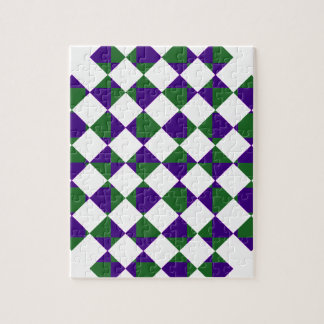 Grünes und lila Rückkariertes Puzzle