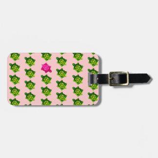 Grünes und rosa Schildkröte-Muster Gepäck Anhänger