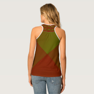 Grünes und rotes Diamant-Muster-Trägershirt Tanktop