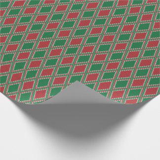 Grünes und rotes Diamant-Strick-Verpackungs-Papier Einpackpapier