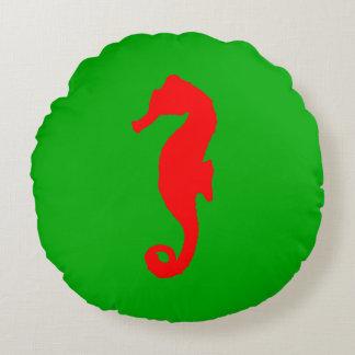 Grünes und rotes Küstenweihnachtsdekor-Seepferd Rundes Kissen