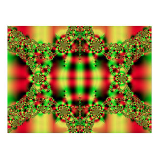 Grünes und rotes Tartan-Fraktal Post Poster
