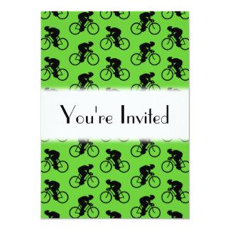 Grünes und schwarzes Fahrrad-Muster 12,7 X 17,8 Cm Einladungskarte