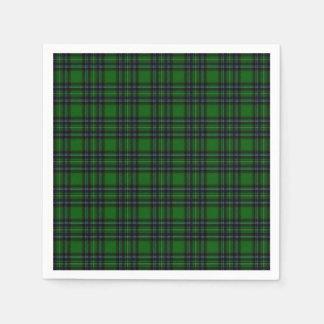 Grünes und schwarzes kariertes papierserviette