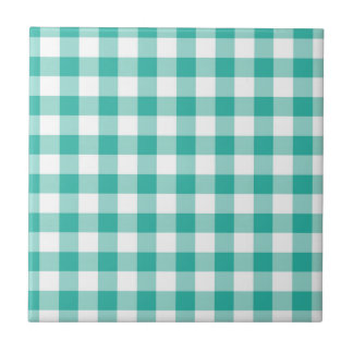 Grünes und weißes Gingham-Karo-Muster Keramikfliese