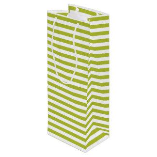 Grünes und weißes Streifen-Muster Geschenktüte Für Weinflaschen