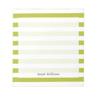 Grünes und weißes Streifen-Muster Notizblock