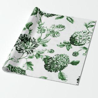 Grünes und weißes Vintages botanisches BlumenToile Geschenkpapier