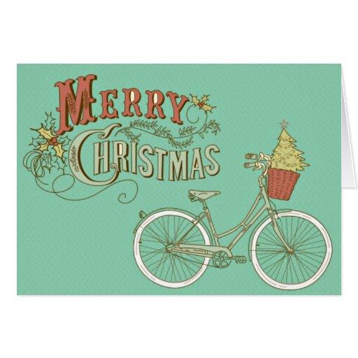 Grünes Vintages frohe Weihnacht-Fahrrad Karte