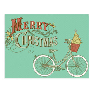 Grünes Vintages frohe Weihnacht-Fahrrad Postkarte