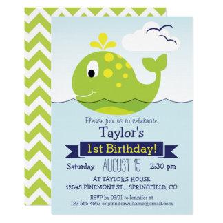 Grünes Wal-Geburtstags-Party 12,7 X 17,8 Cm Einladungskarte