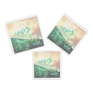 Grünes Watercolor-Joggen-Laufen Inspirational Acryl Tablett