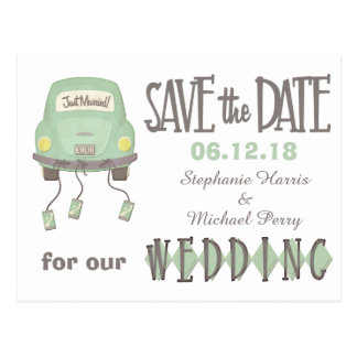 Grünes Wedding Flitterwochen-Auto Save the Date Postkarte