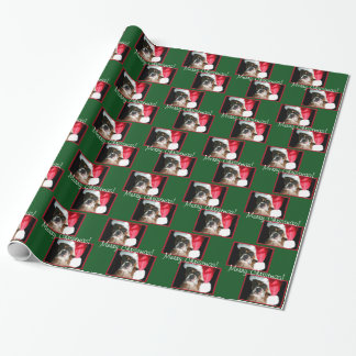 Grünes Weihnachtsboxer-HundePackpapier Geschenkpapier