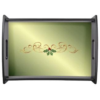 Grünes Weihnachtsglühen Serviertablett