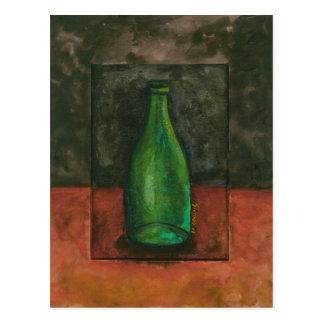 Grünes Wein-Flaschen-Aquarell Postkarte