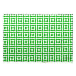 """Grünes weißes checkered Tischset """"Leuchtturm-Weg """""""