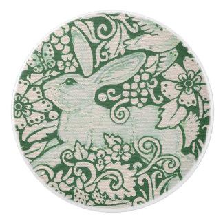 Grünes weißes Kaninchen-Blumenvolksfach-Zug-Griff Keramikknauf