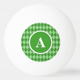 Grünes weißes Karo-Monogramm-Muster Tischtennis Ball