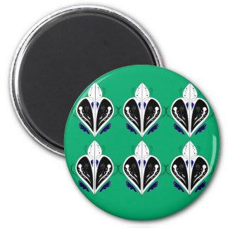 Grünes weißes Öko der Elemente Runder Magnet 5,1 Cm