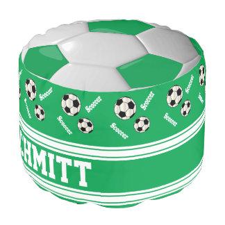 Grünes, weißes und schwarzes Fußball-Sport-Muster Hocker