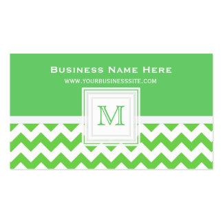 Grünes weißes Zickzack: Monogramm-Visitenkarte Visitenkarten