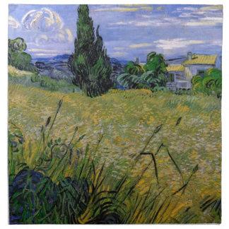 Grünes Weizen-Feld mit Zypresse durch Van Gogh. Serviette