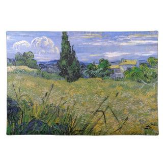 Grünes Weizen-Feld mit Zypresse durch Van Gogh. Stofftischset