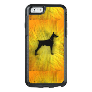 Grunge-Dobermannpinscher-Silhouette OtterBox iPhone 6/6s Hülle
