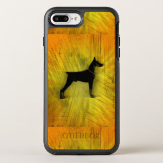 Grunge-Dobermannpinscher-Silhouette OtterBox Symmetry iPhone 8 Plus/7 Plus Hülle