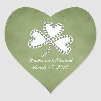 Grunge-Kleeblatt-irische Hochzeits-Aufkleber Herz-Aufkleber
