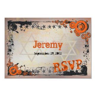 Grunge orange, schwarze, graue Bar Mitzvah UAWG 8,9 X 12,7 Cm Einladungskarte