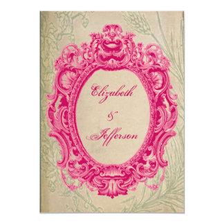 Grunge-rosa Vintage Rahmen-Hochzeits-Einladungen 12,7 X 17,8 Cm Einladungskarte