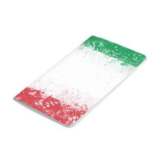 Grunge-Spritzer gemalte Flagge von Italien Taschennotizbuch