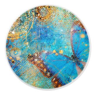 Grunge Steampunk Schmetterlings-abstrakter Entwurf Keramikknauf