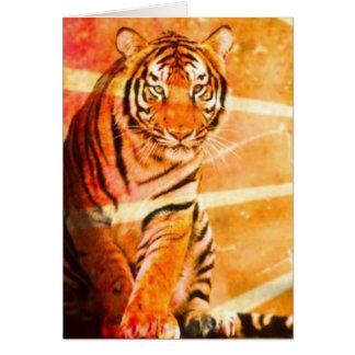 Grunge Vintage japanische Tiger Sunrays Grußkarte