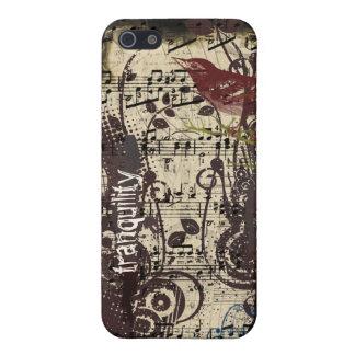 Grunge-Vintage Vogel-Pflaumen-Wirbel iPhone iPhone 5 Schutzhülle