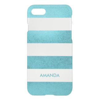 Grunge-Vintager blauer aquamariner weißer Streifen iPhone 8/7 Hülle
