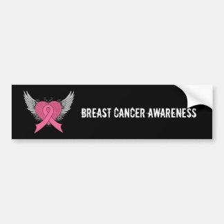 Grunge Winged Herz - Brustkrebs-Autoaufkleber