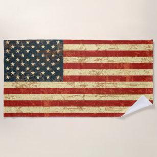 Grungy amerikanische Flagge Strandtuch