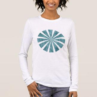 Grungy aquamarines Polka-Punkt-Muster Langarm T-Shirt