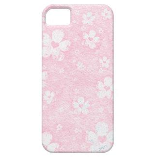 Grungy rosa und weißes Blumen-Herz-Muster Etui Fürs iPhone 5